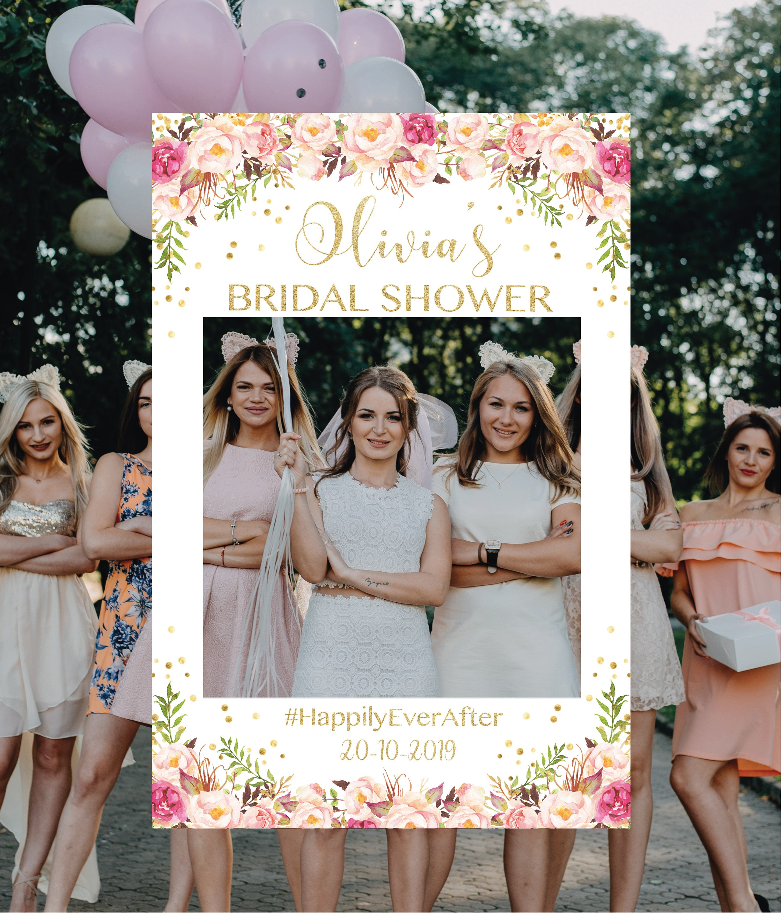 Gold And Pink Bridal Shower Photo Booth Frame Photo Prop Frame