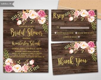 Rustic Bridal Shower Invitation, Printable Bridal Shower Invitation, Wood, Pink floral, Bridal Shower Invites, Wedding Shower invitation