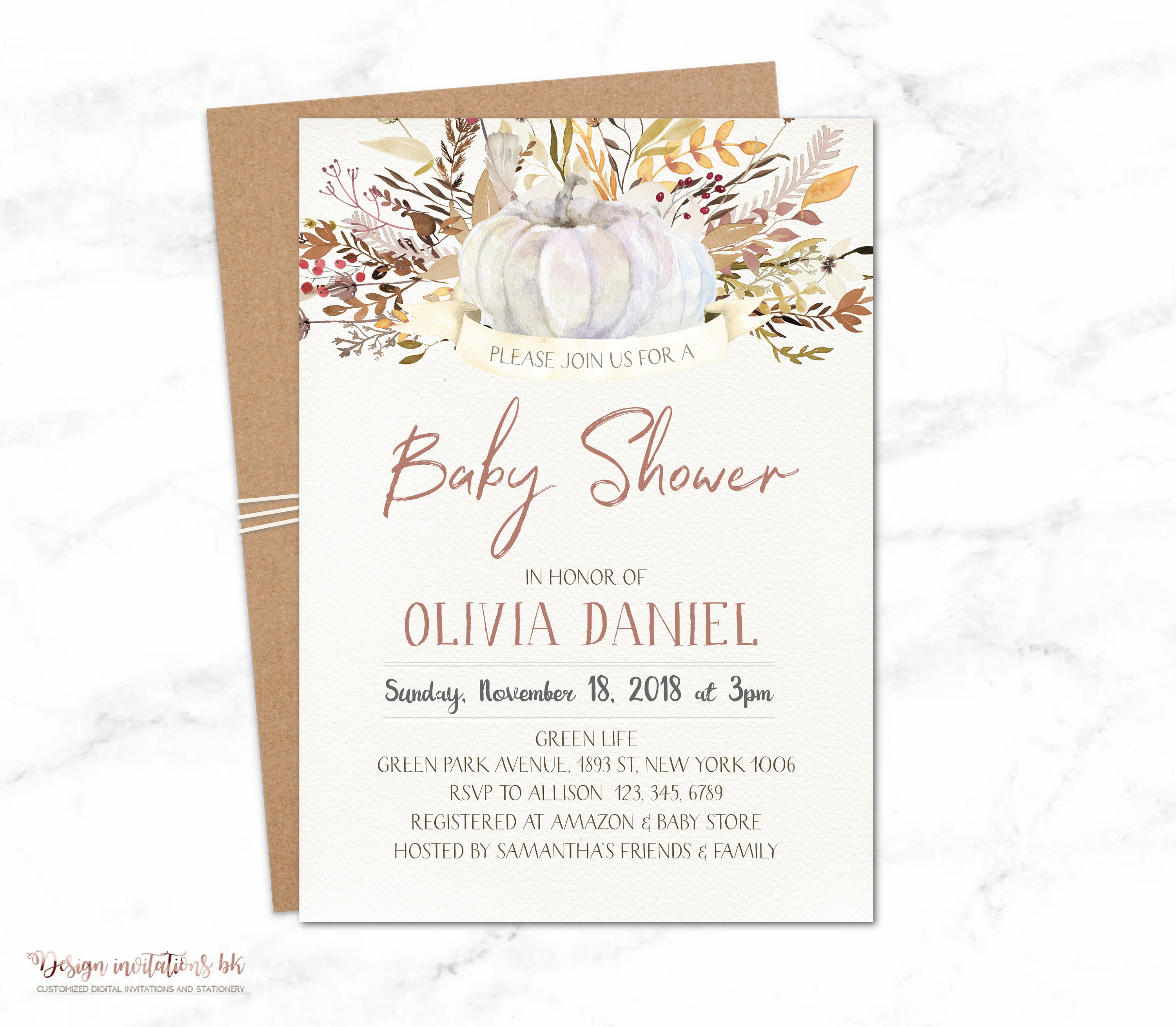 Fall Baby Shower Invitations Pumpkin Baby Shower Printable Baby
