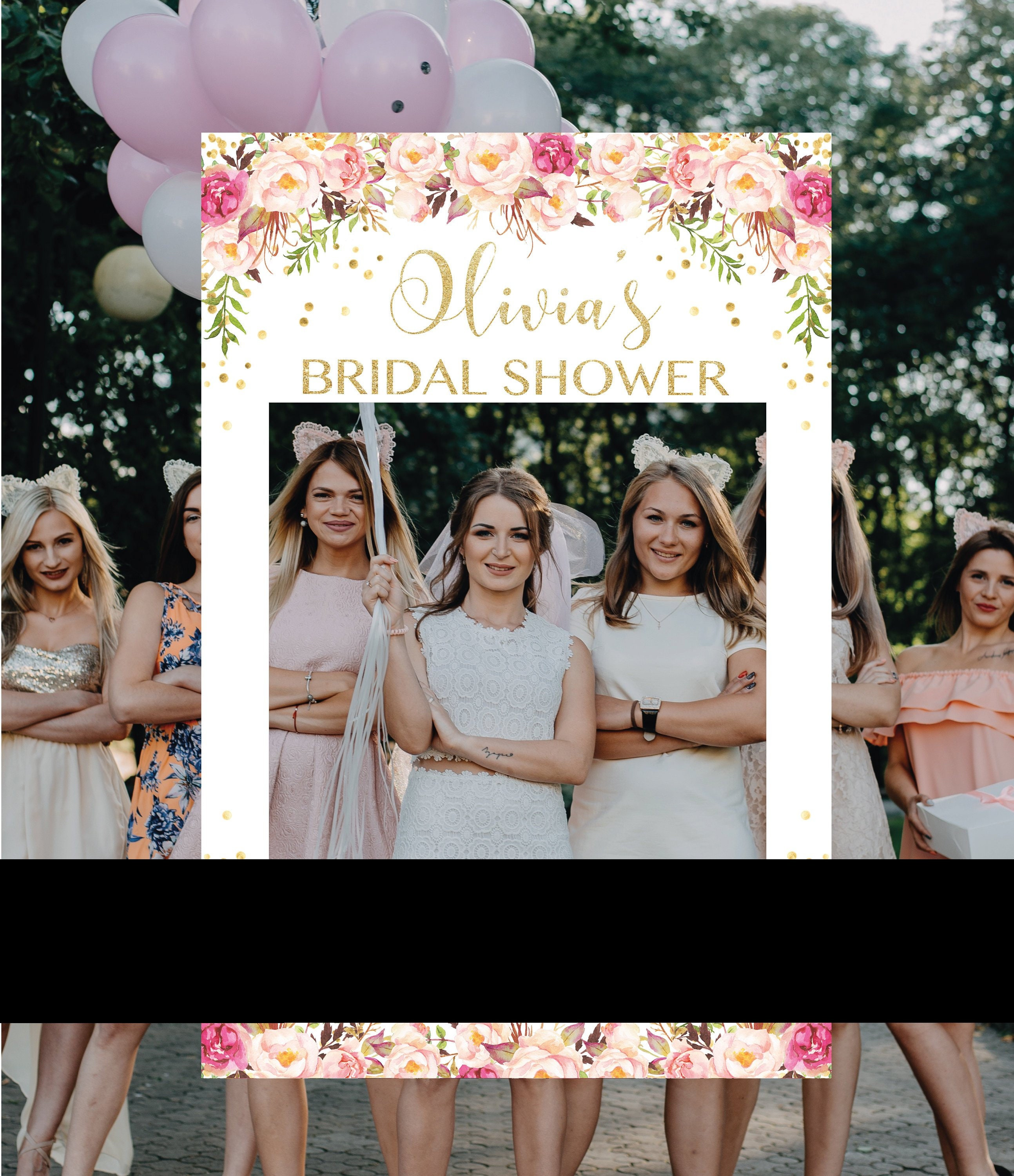 Gold and Pink Bridal Shower Photo Booth Frame, Photo Prop Frame ...