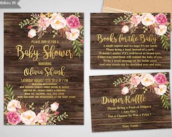 Baby Shower Invitation Girl, Baby Shower Invitation, Gold Foil Baby Shower Invite, Printable baby shower invite, Girl and boy baby shower