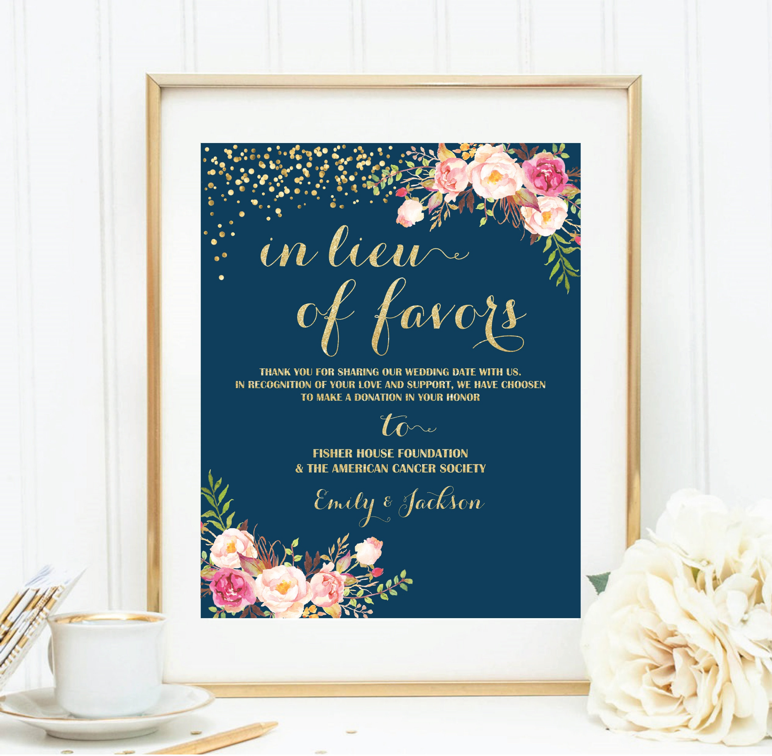 In Lieu Of Favors Sign Gold Wedding Signs Printable Donation Sign