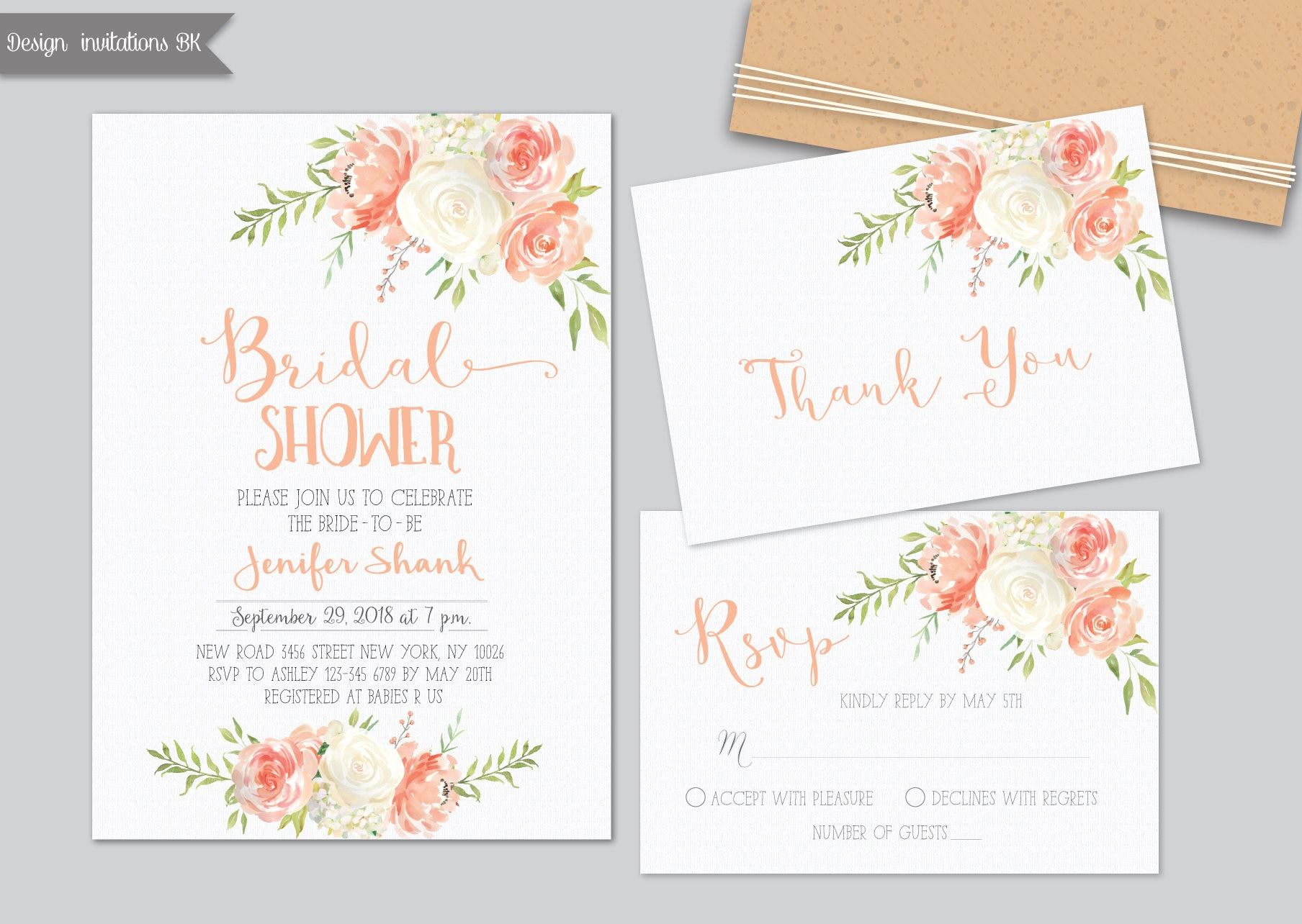 peaches and cream bridal shower invitation bridal shower invitation printable pastel bridal shower invitation bridal shower invitation
