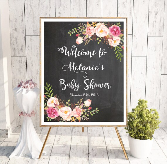 Baby Shower Welcome Sign Baby Shower Chalkboard Sign Etsy