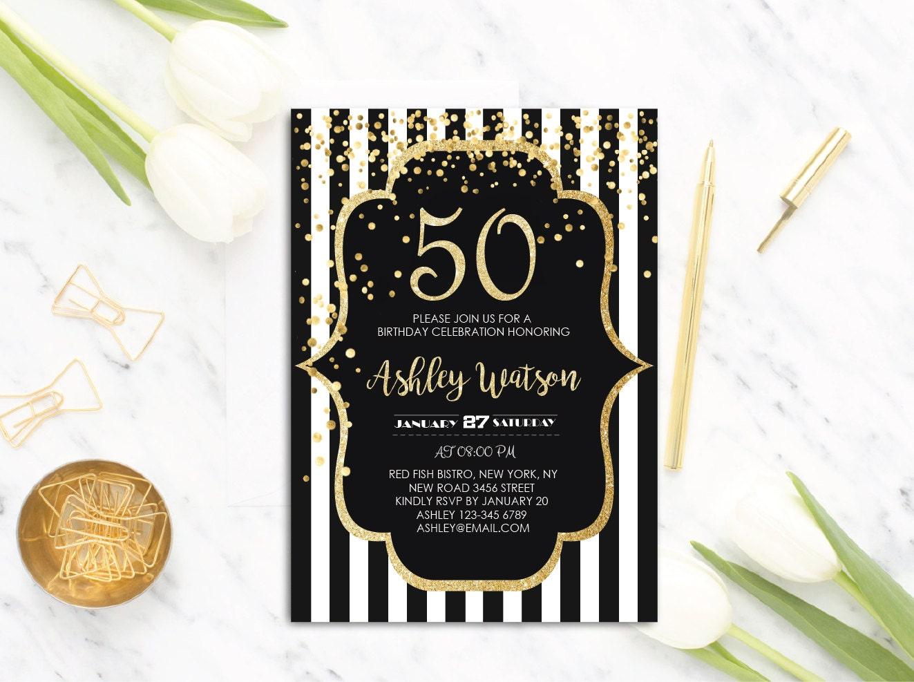 50th Birthday Invitations Party Gold Glitter Black Stripes Invitation Any Age