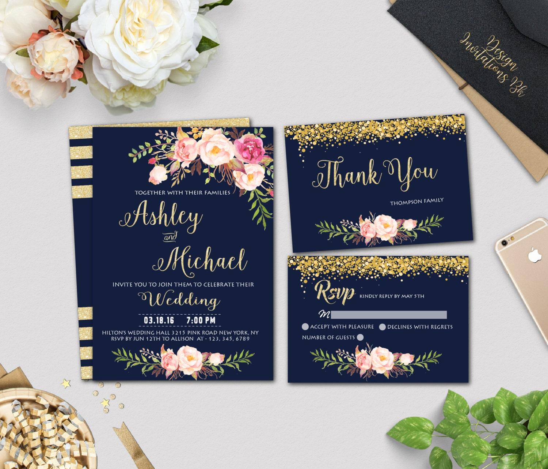 Navy Wedding Invitation: Gold Wedding Invitation Template Navy Wedding Invitation