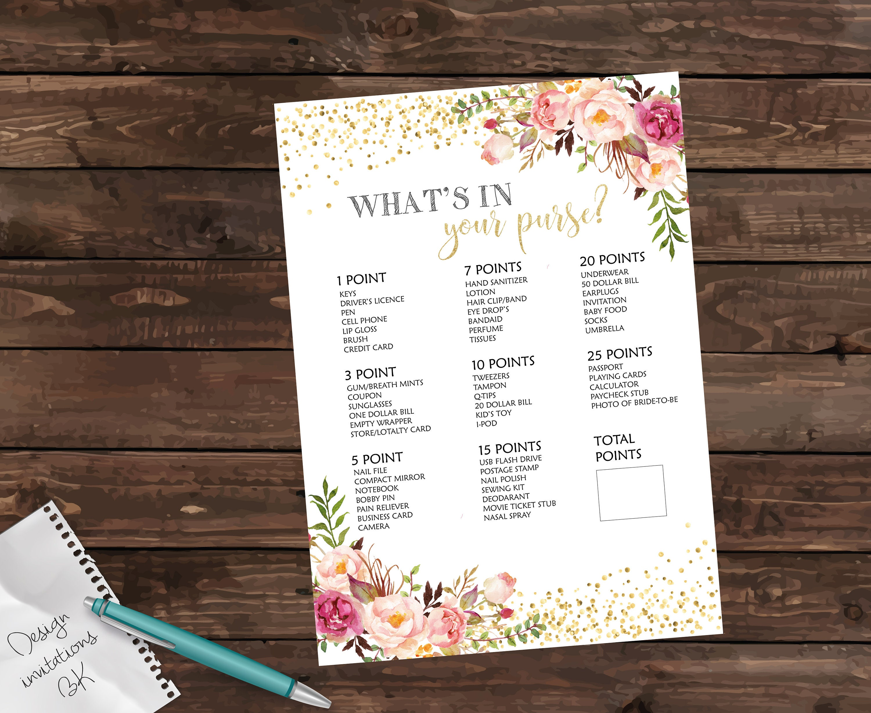 whats in your purse bridal shower games bridal shower gift bridal shower printable gold purse raid purse hunt whats in your bag
