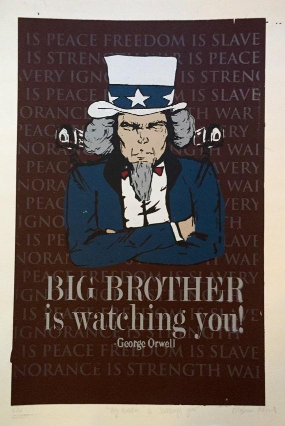 George Orwell Siebdruck großer Bruder ist gerade   Etsy
