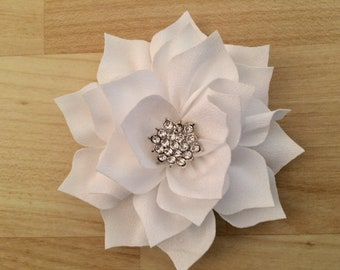 White hair flower etsy white hair flower wedding hair flower jewel flower hair clip mightylinksfo
