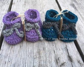 Crochet Newborn Baby Booties,