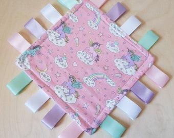 Taggy Blanket 22cm Fox /& Owls Blanket Fidget Blanket Woodland Animals Blanket