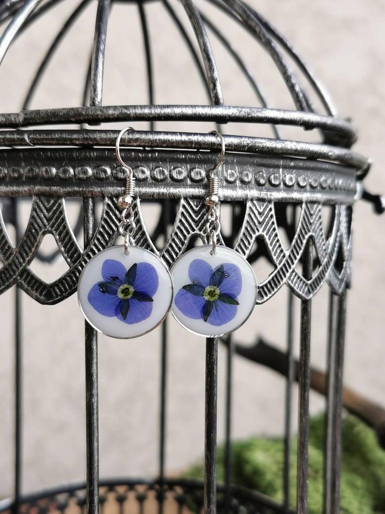 UV Resin Nature Handmade Victoria Stainless Steel Honorary Award Wildflower Earrings Summer Spring Flower Jewelry