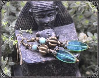 Aqua-turquoise Boho Earrings