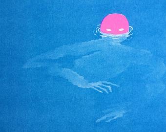 Swimmer A3 Riso Print