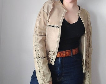2cb24065acff Vintage Beige Suede and Crochet Jacket by Gantos