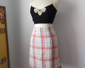 d59413ace Vintage Pastel Plaid Pencil Skirt