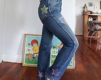 One of a Kind Star Jeans- Star Patched Jeans