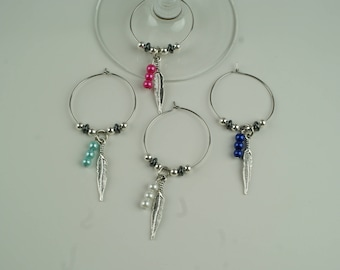 Feather Wine Charms-4pc