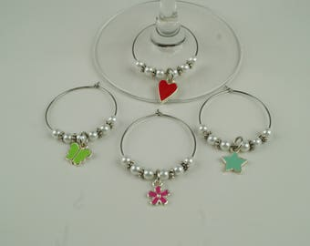Girly Wine Charms-4pc