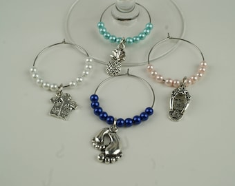 Tropical Pearls Wine Charms-4pc