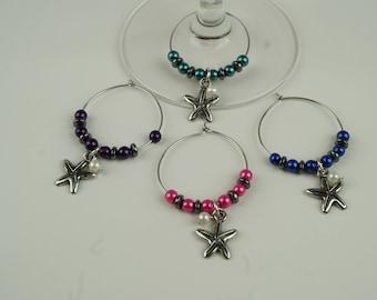 Starfish (dark colors) Wine Charms-4pc