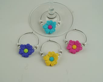 Swirl Flower Wine Charms-4pc
