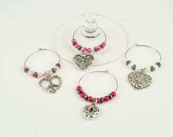 Hearts Wine Charms-4pc