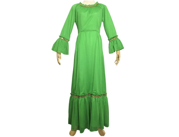 Vintage 1970s Japanese Dress Green Polyester  Toky