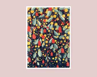 Print - Flame and Wattle - A4 Watercolour Print - Giclée Art Print on Hahnemuhle Photo Rag