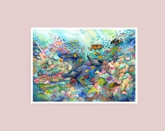 Print - Great Barrier Reef - A4 Watercolour Print - Giclée Art Print on Hahnemuhle Photo Rag