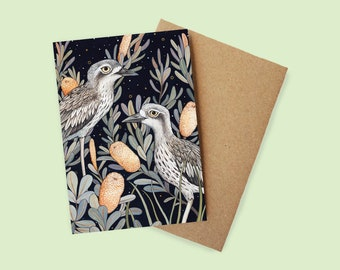 Bush Stone Curlew Greeting Card - watercolour, recycled paper, made in Australia