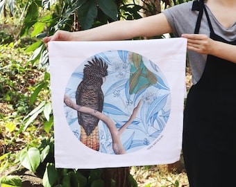 Tea Towel - Red Tail Black Cockatoo, Organic Cotton