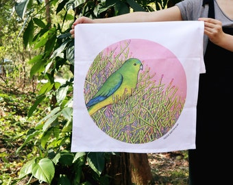 Tea Towel - Orange Bellied Parrot, Organic Cotton