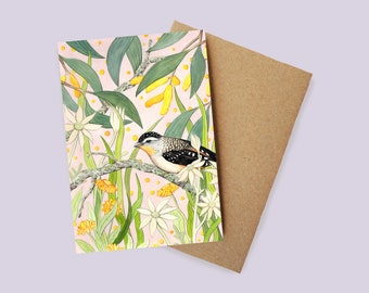 Spotted Pardalote Greeting Card - watercolour, recycled paper, made in Australia