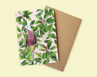Wompoo Fruit Dove/Pigeon Greeting Card - watercolour, recycled paper, made in Australia