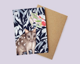 Northern Quoll Greeting Card - watercolour, recycled paper, made in Australia
