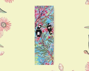 Mini Book Mark - Magpies in the Gum Blossom - Recycled Paper, Made in Australia