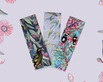 Set of 3 Mini Book Marks - Australian Flora and Fauna - Recycled Paper, Made in Australia