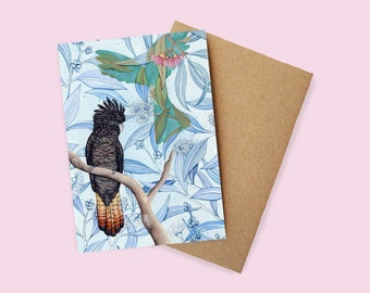 Red Tail Black Cockatoo Greeting Card - watercolour, recycled paper, made in Australia