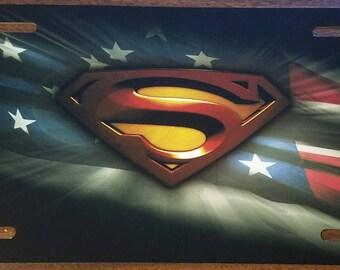 SUPERMAN LOGO Custom License Plate Movie Emblem USA Version