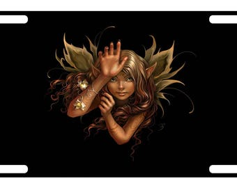 FAIRY Custom License Plate FANTASY MAGIC WIZARD Emblem AUTUMN Version