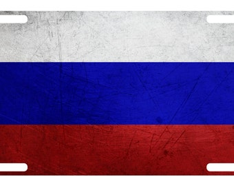 RUSSIA ROSSIA FLAG METAL HEAVY DUTY CHROME License Plate Frame Tag Holder