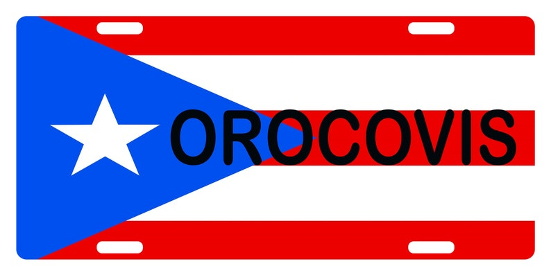 Puerto Rico Flag OROCOVIS License Plate PR Boricua Emblem