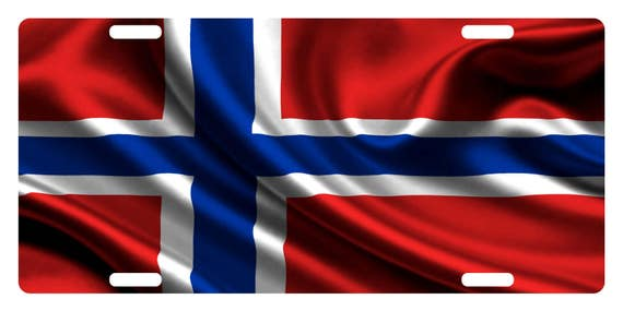 NORWAY Flag Custom License Plate NATIONAL Emblem ORIGINAL Version