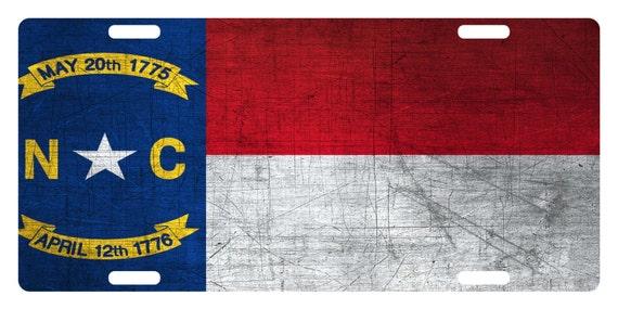 North Carolina  State Flag Custom License Plate  Emblem Wave  Version