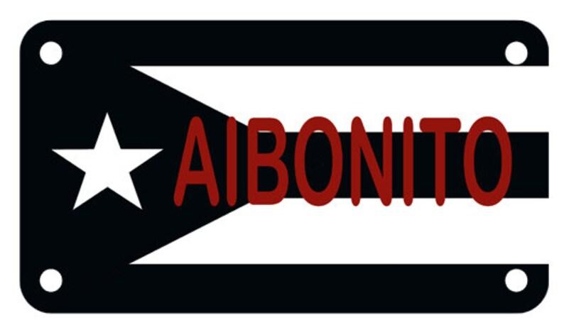 AIBONITO Puerto Rico Flag Boricua Motorcycle ATV 4 x 7 Fourtrack Black /& White License Plate
