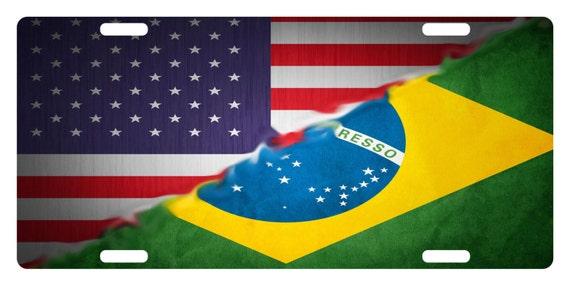 Brazil Flag Black Plastic Car License plate frame domed colour lens Brazilian