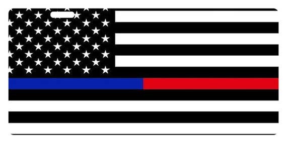 Fast Service Designs Law Enforcement Thin Blue Line Custom License Plate Police Emblem Version #1