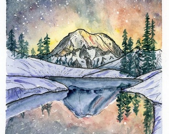 Mount Rainier Reflection / Archival 5x7 watercolor print / mountains, starry skies, reflections