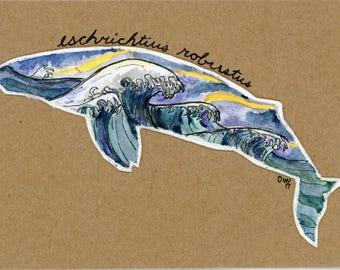 Aquatic animals series prints / 3.24 x 4.5 inches / Whales / Ocean / Oregon